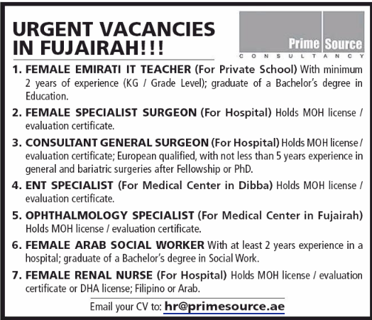 CONSULTANT GENERAL SURGEON in a company United Arab Emirates Al Fujayrah