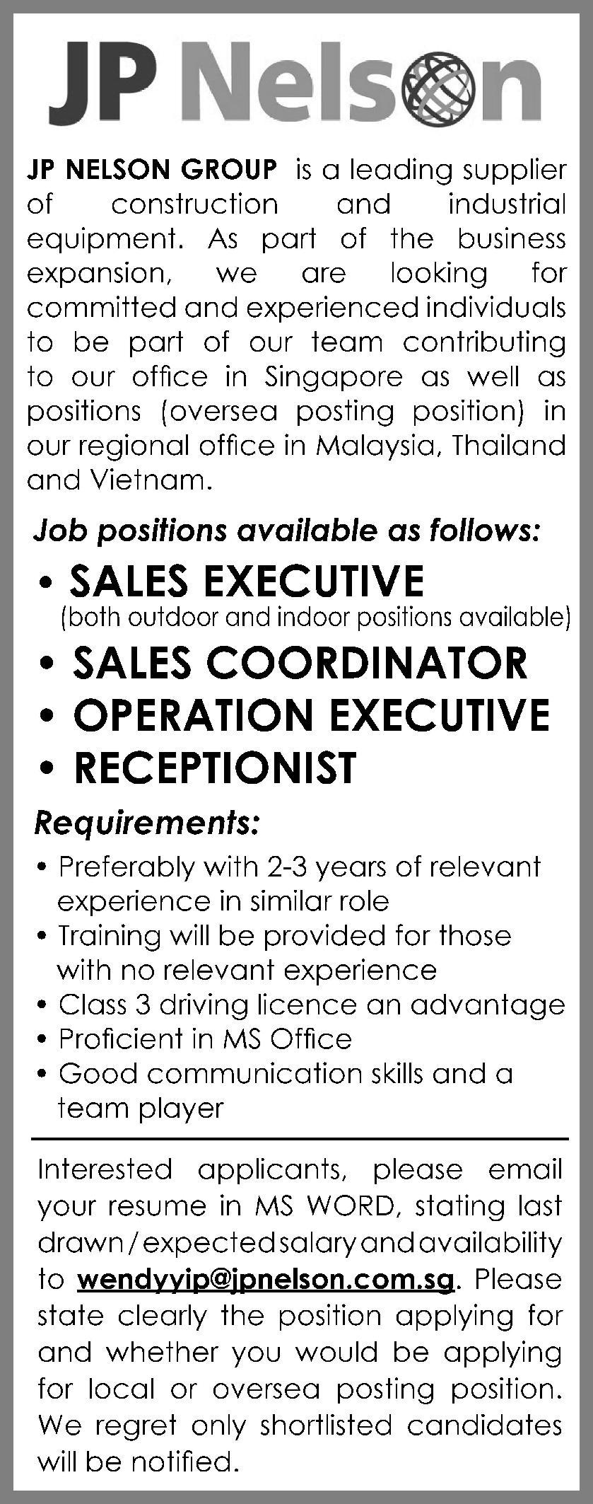 OPERATION EXECUTIVES in a company Singapore Singapore