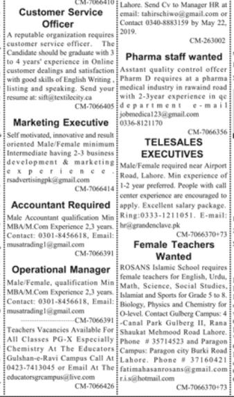 Marketing Executive in a company Pakistan Lahore