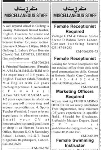 Marketing Officer in a company Pakistan Lahore