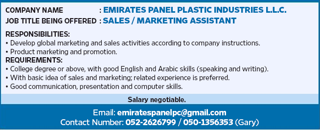 SALES / MARKETING ASSISTANT in a company United Arab Emirates Dubai