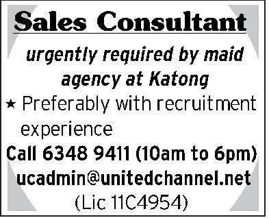 Sales Consultant in a company Singapore Singapore