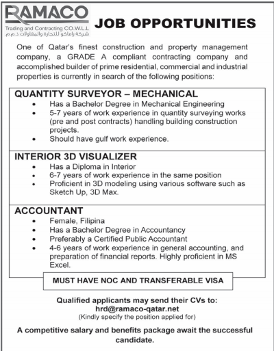 Mechanical Quantity Surveyors in a company Qatar Doha