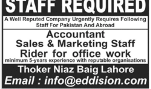 Marketing Staff in a company Pakistan Lahore