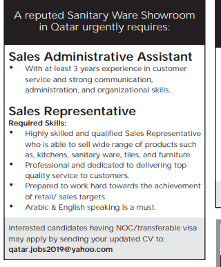 Sale Representative in a company Qatar Doha