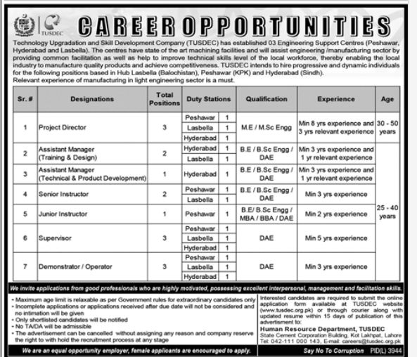 Operators in a company Pakistan Karachi