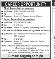 Chief Accountant in a company Pakistan Lahore