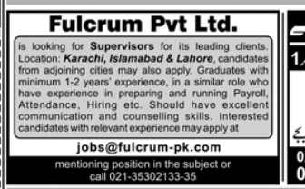Supervisor in a company Pakistan Karachi