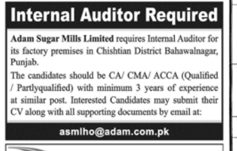 Internal Auditor in a company Pakistan Lahore