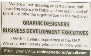 Business Development Executive in a company United Arab Emirates Dubai