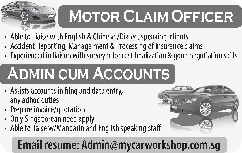 Motor Claim Officer in a company Singapore Singapore
