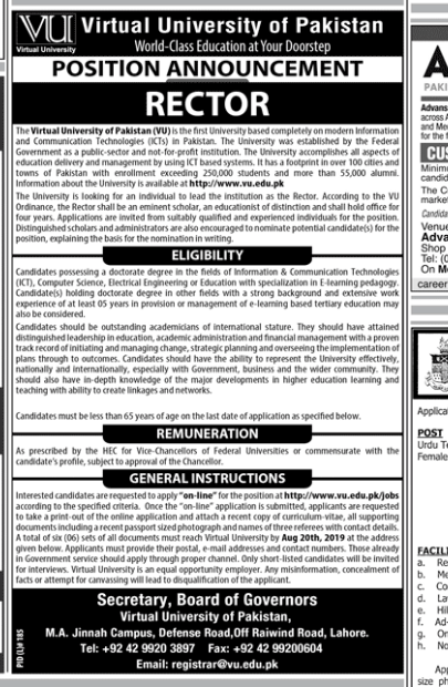 Rector in a company Pakistan Karachi