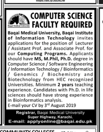 Computer Science Faculty in a company Pakistan Karachi
