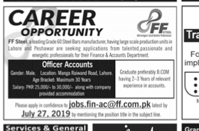 Accounts Officer in a company Pakistan Lahore