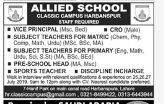 Vice Principal in a company Pakistan Lahore