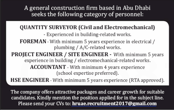 Project Engineer in a company United Arab Emirates Abu Dhabi