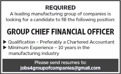 GROUP CHIEF FINANCIAL OFFICER in a company United Arab Emirates Dubai