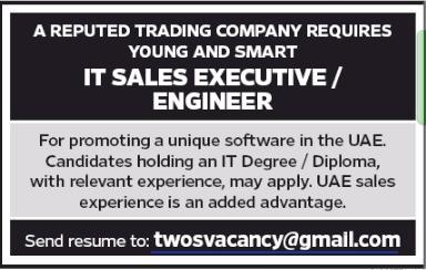 IT SALES EXECUTIVE in a company United Arab Emirates Dubai