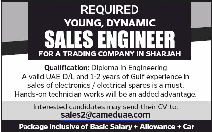 Sales Engineer in a company United Arab Emirates Sharjah