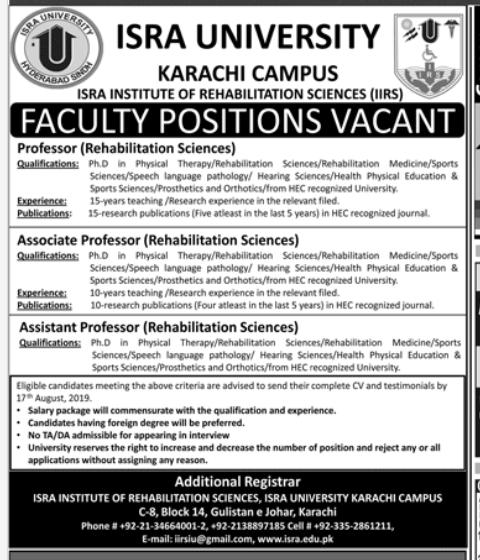 PROFESSOR Rehabilitation Sciences in a company Pakistan Karachi