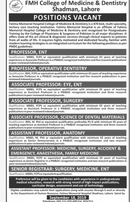 PROFESSOR ENT in a company Pakistan Lahore