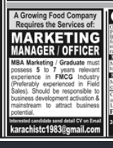 Marketing Officer in a company Pakistan Karachi