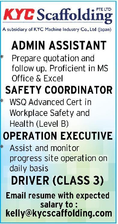 Operations Executive in a company Singapore Singapore