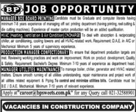 Manager Utilities Maintanance in a company Pakistan Karachi
