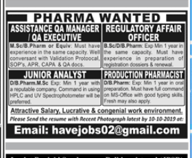 Junior Analyst in a company Pakistan Karachi