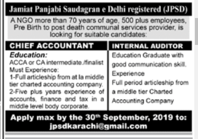 Chief Accountant in a company Pakistan Karachi
