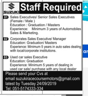 Used Car Sales Executive in a company Pakistan Rawalpindi