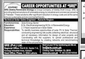 Technical Solar Sales Engineer in a company Pakistan Karachi