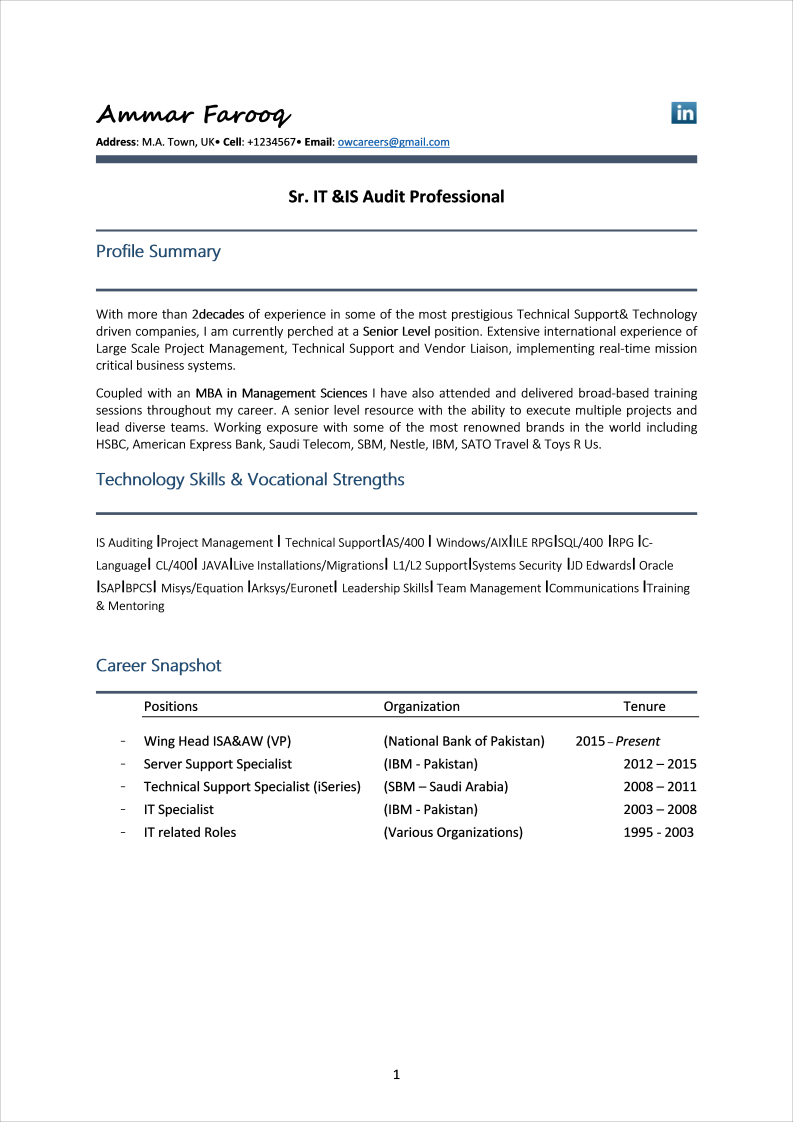 Functional CV format for Finance Professionals Template
