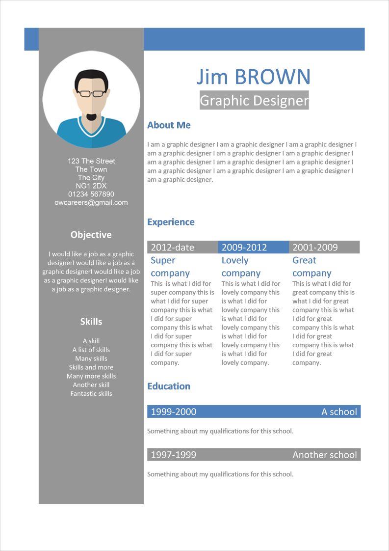 Infographic CV for graphic Designers Template
