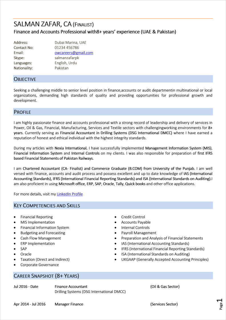Splendid CV for Finance Professionals Template