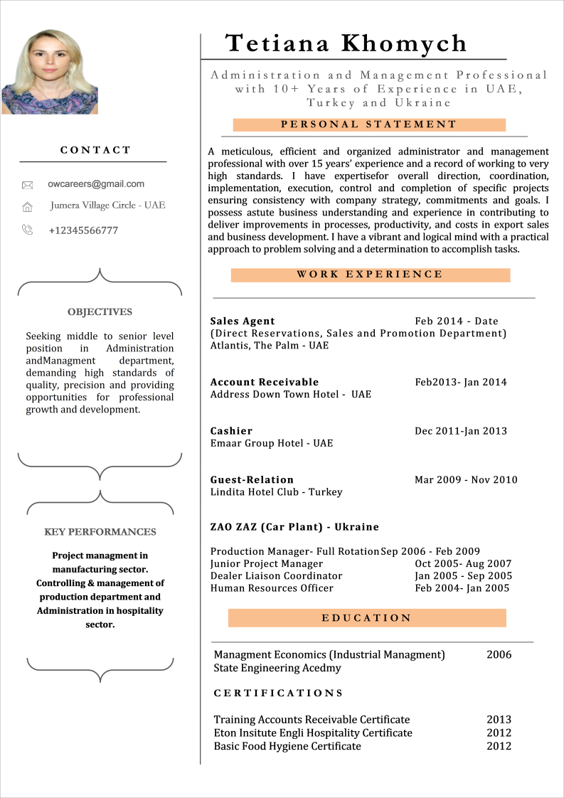 Splendid CV Format for Sales Professionals Template