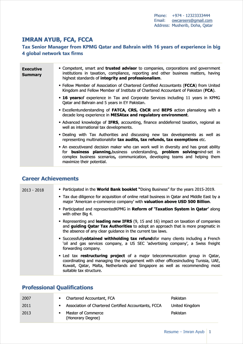 Star CV Format for Finance Professionals Template